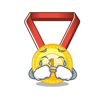 Crying toy gold medal shaped on mascot vector illustration Иллюстрация
