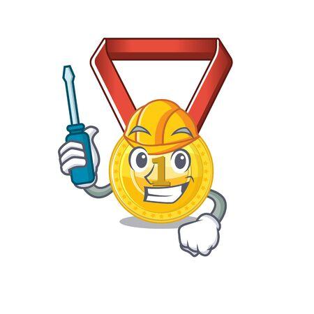 Automotive gold medal hung on cartoon wall vector illustration Stockfoto - 129792611