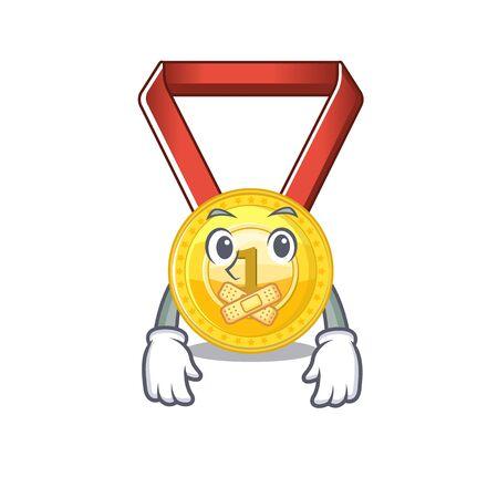 Silent gold medal hung on cartoon wall vector illustration