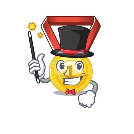 Magician gold medal hung on cartoon wall vector illustration Stockfoto - 129792613