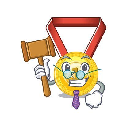 Judge gold medal hung on cartoon wall vector illustration Stockfoto - 129792619