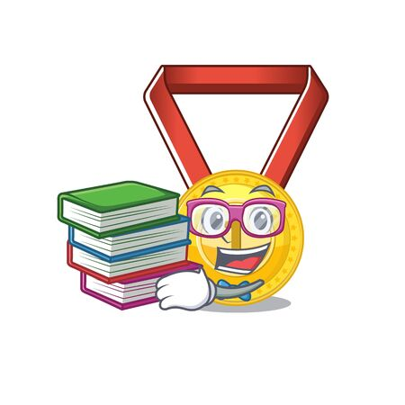 Student with book gold medal hung on cartoon wall vector illustration Ilustrace