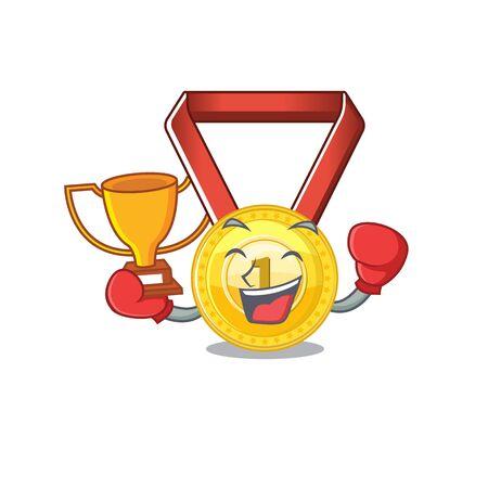 Boxing winner gold medal hung on cartoon wall vector illustration