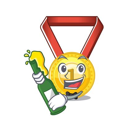 With beer gold medal hung on cartoon wall vector illustration