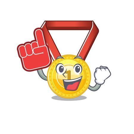 Foam finger gold medal hung on cartoon wall vector illustration Illustration