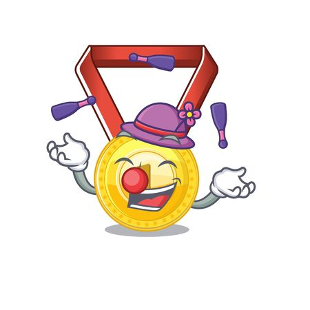 Juggling gold medal hung on cartoon wall vector illustration Ilustrace