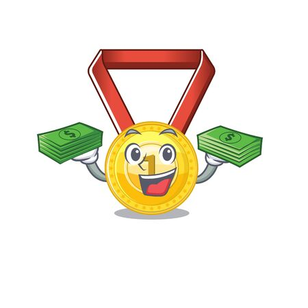 With money toy gold medal shaped on mascot vector illustration