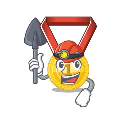 Miner toy gold medal shaped on mascot vector illustration