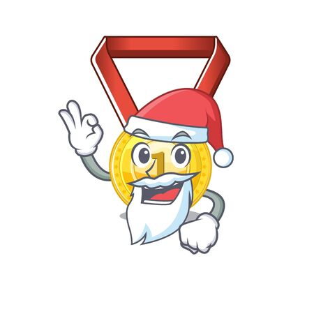 Santa gold medal hung on cartoon wall vector illustration
