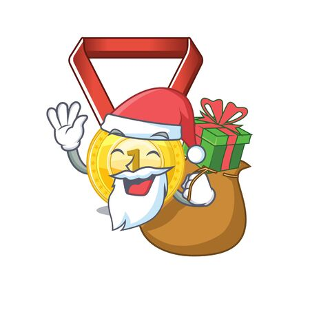 Santa with gift gold medal hung on cartoon wall vector illustration