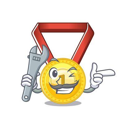 Mechanic gold medal hung on cartoon wall vector illustration Foto de archivo - 129793071