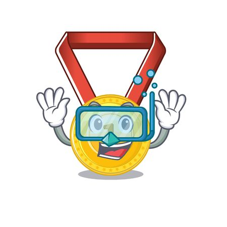 Diving gold medal with the character shape vector illustration Ilustração