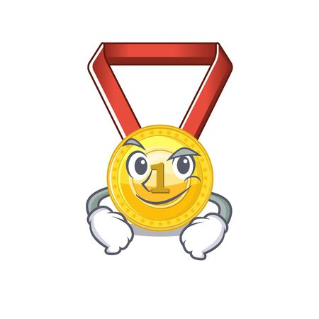Smirking gold medal with the character shape vector illustration