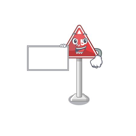 With board height limit mascot shaped on character vector illustration