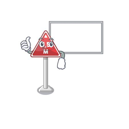 Thumbs up with board height limit mascot shaped on character vector illustration