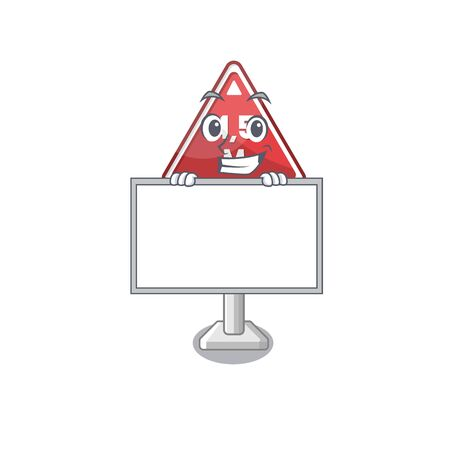 Grinning with board height limit mascot shaped on character vector illustration