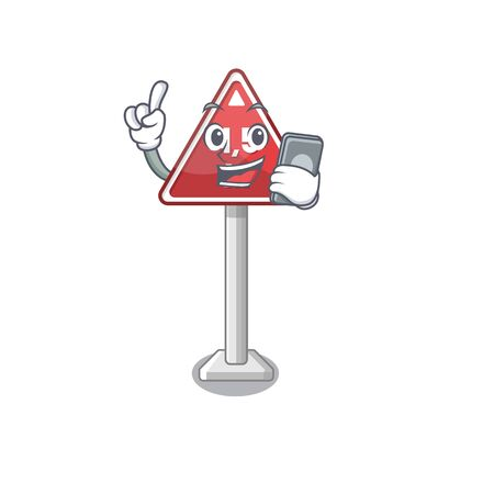 With phone height limit mascot shaped on character vector illustration