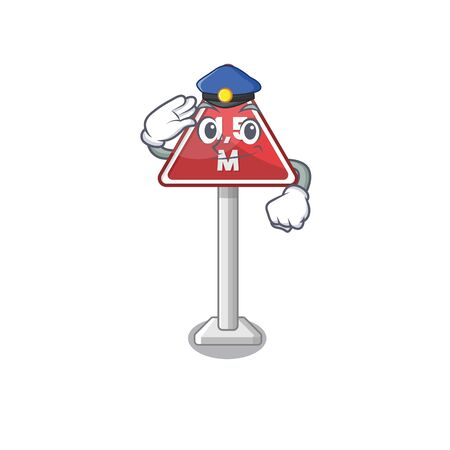 Police height limit mascot shaped on character vector illustration