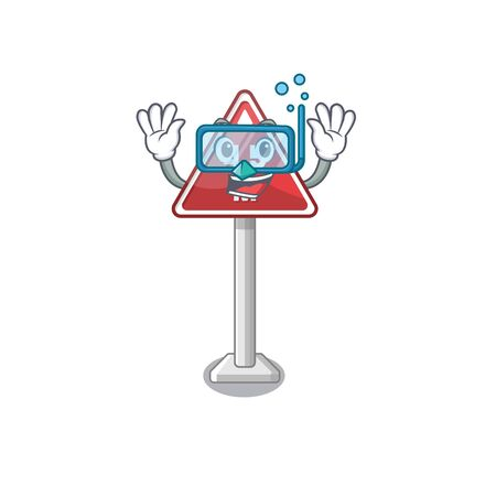 Diving height limit on cartoon side road vector illustration