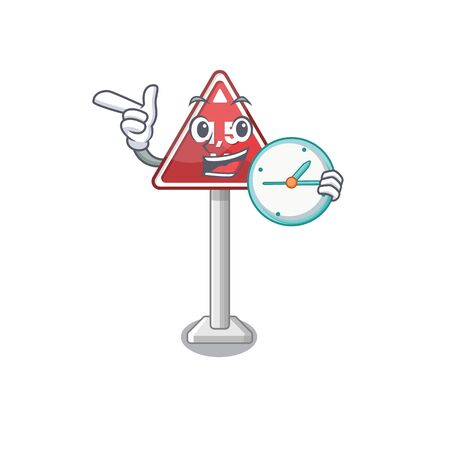 With clock height limit on cartoon side road vector illustration