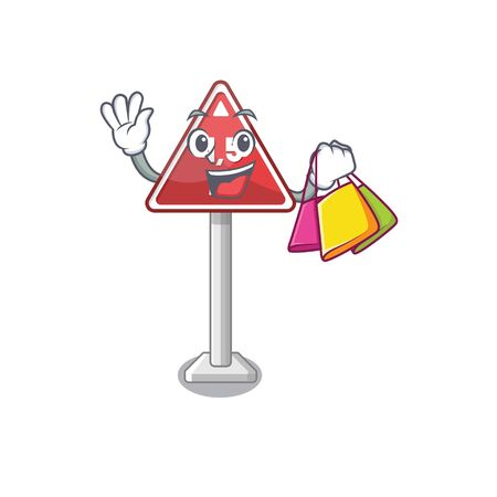 Shopping height limit on cartoon side road vector illustration