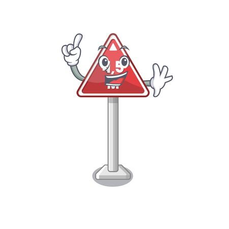 Finger toy height limit above mascot table vector illustration  イラスト・ベクター素材