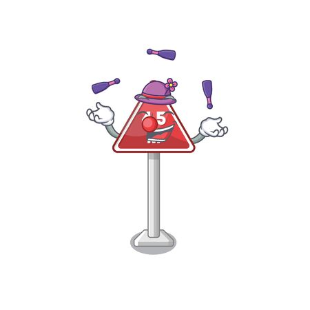 Juggling toy height limit above mascot table vector illustration