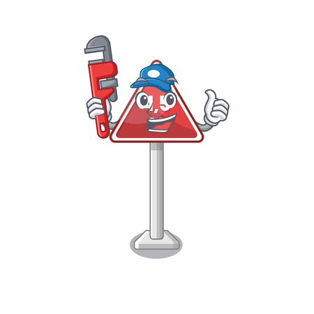 Plumber toy height limit above mascot table vector illustration