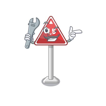 Mechanic toy height limit above mascot table vector illustration