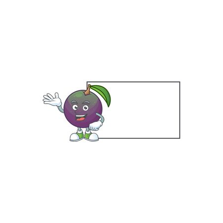 With board star apple cartoon character with mascot vector illustration Illustration