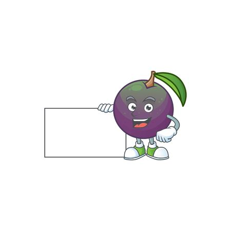 Thumbs up with board star apple cartoon character with mascot vector illustration