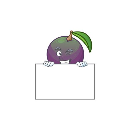 Grinning with board star apple cartoon character with mascot vector illustration