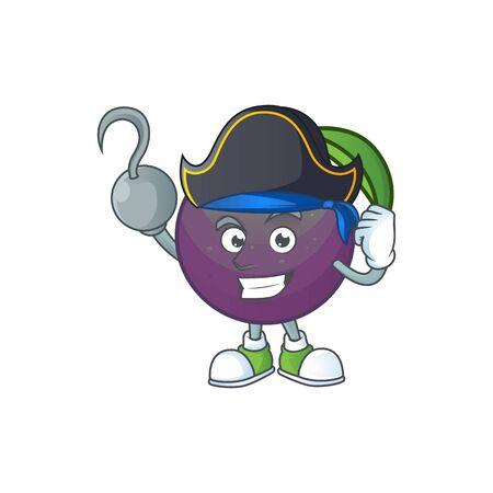 Pirate star apple cartoon character with mascot vector illustration Illusztráció