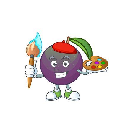 Painter star apple cartoon character with mascot vector illustration