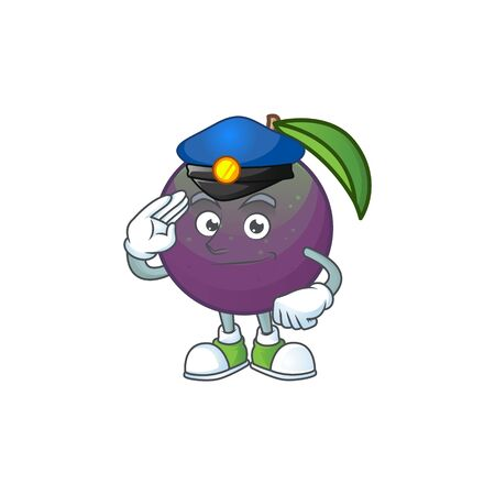 Police star apple cartoon character with mascot vector illustration