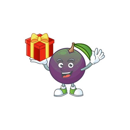 Bring gift star apple character in cartoon mascot vector illustration Ilustração