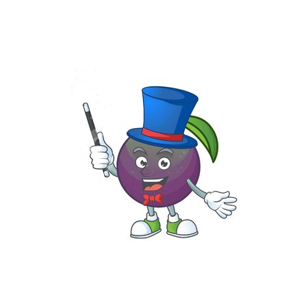 Magician star apple character in cartoon mascot vector illustration
