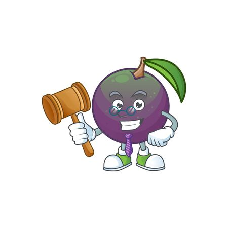 Judge star apple character in cartoon mascot vector illustration