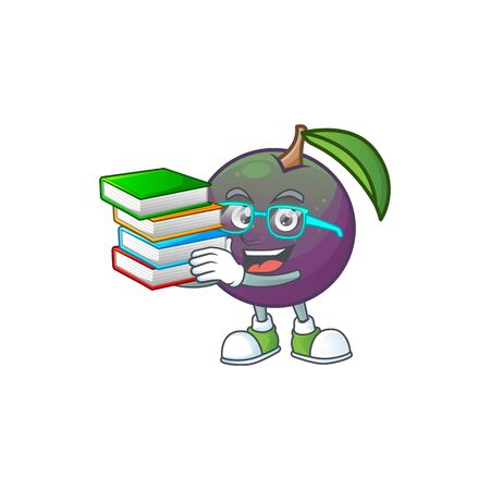 Student with book star apple character in cartoon mascot vector illustration