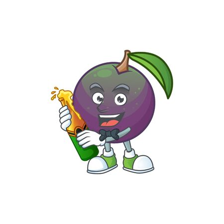 With beer star apple character in cartoon mascot vector illustration Иллюстрация