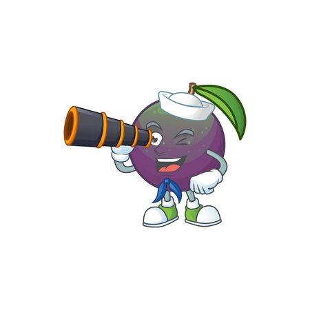 Sailor with binocular star apple fruit shape character mascot. vector illustration Illusztráció