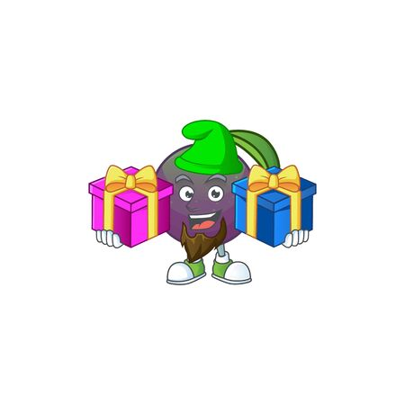 Bring two gifts star apple character in cartoon mascot vector illustration