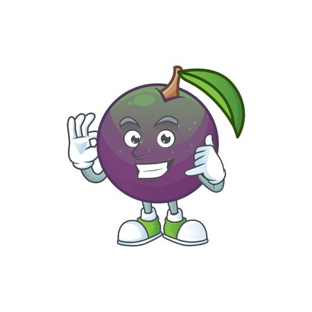 Call me star apple character in cartoon mascot vector illustration