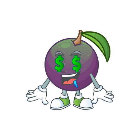Money eye star apple character in cartoon mascot vector illustration
