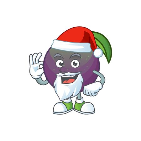 Santa star apple character in cartoon mascot vector illustration Ilustração