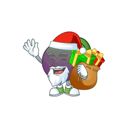 Santa with gift star apple character in cartoon mascot vector illustration