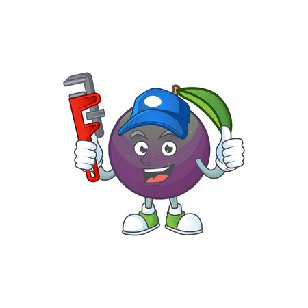 Plumber star apple character in cartoon mascot vector illustration