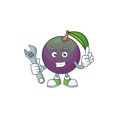 Mechanic star apple character in cartoon mascot vector illustration Ilustração