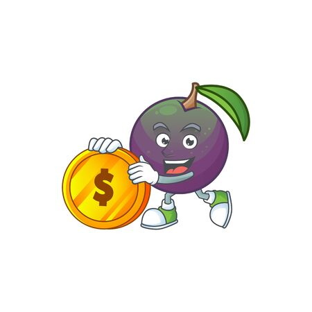 Bring coin star apple character in cartoon mascot vector illustration