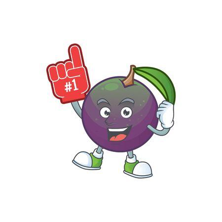 Foam finger star apple character in cartoon mascot vector illustration